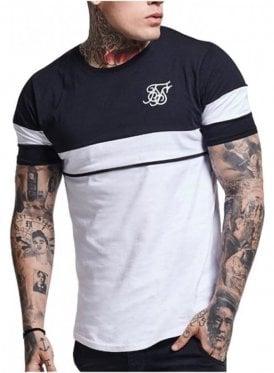 Curved Hem Sport Tshirt Navy Grey white