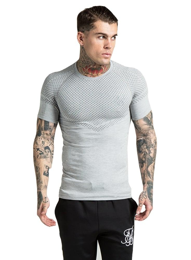 Sik silk diamond jacquard compression gym tshirt light grey for Diamond and silk t shirts