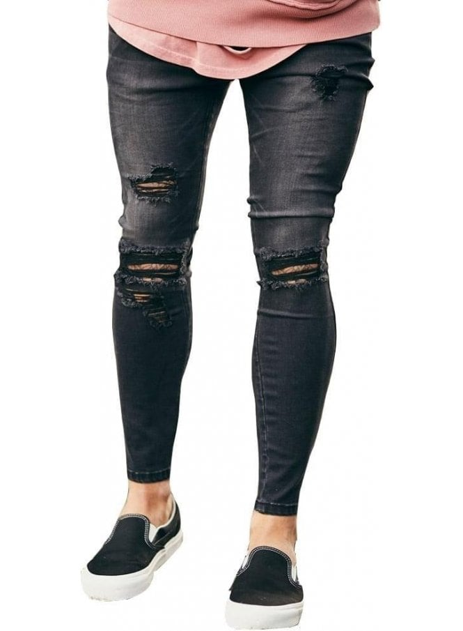 SIK SILK Distressed Skinny Denim Jeans Black