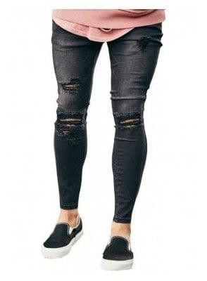 Distressed Skinny Denim Jeans Black