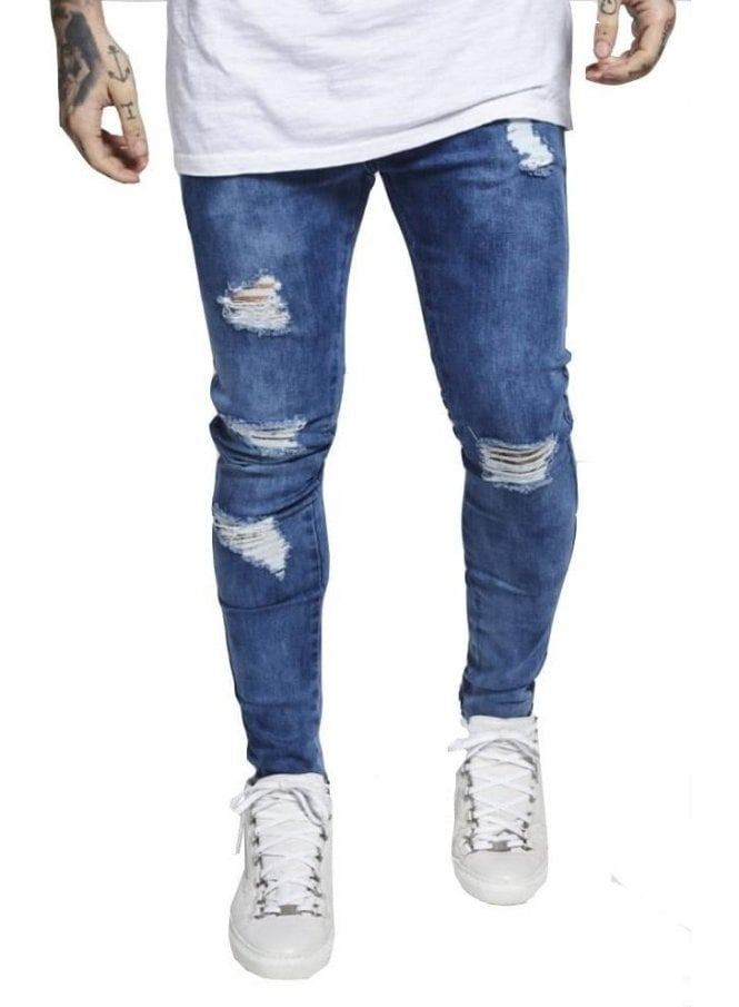 SIK SILK Distressed Skinny Denim Jeans Midstone