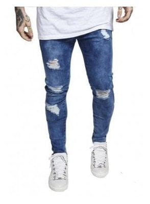 Distressed Skinny Denim Jeans Midstone
