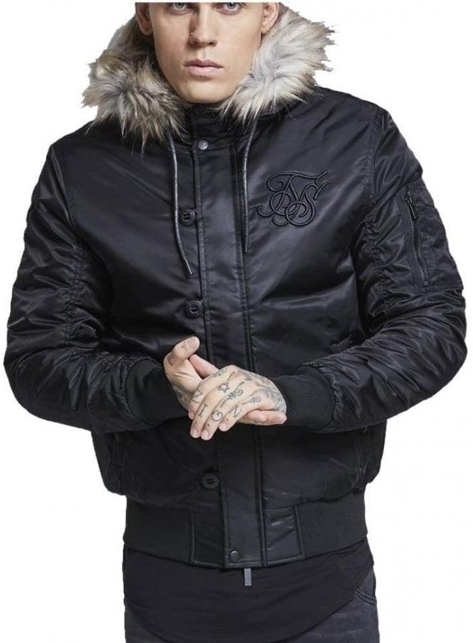 SIK SILK Everest Fur Collar Hooded Bomber Jacket Black