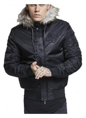 Everest Fur Collar Hooded Bomber Jacket Black