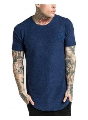 Flannel Curved Hem Tee Navy