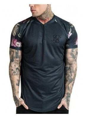 Floral Baseball Jersey Tee Black