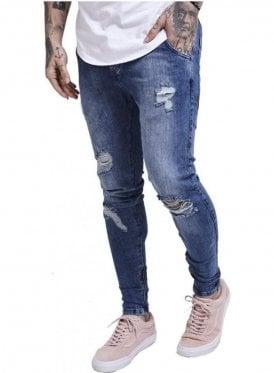 Floral Spring Hareem Denim Jeans Midstone