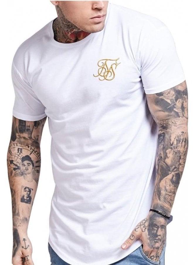 SIK SILK Gold Edit Curved Hem Tshirt White/gold