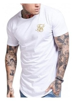 Gold Edit Curved Hem Tshirt White/gold