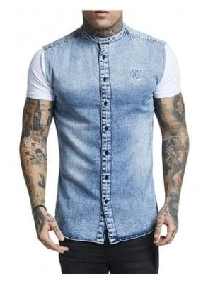 Sik Silk Grandad Collar Ss Washed Denim Blue and White