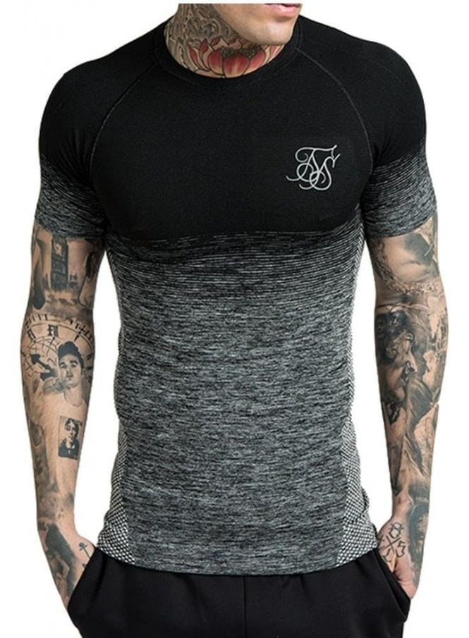 SIK SILK Gym Fadeout Compression Seamless Tee Black/grey