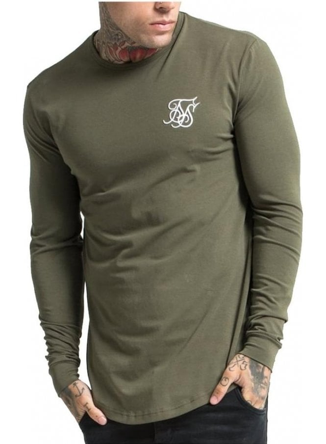 SIK SILK Gym Long Sleeved Tshirt Khaki
