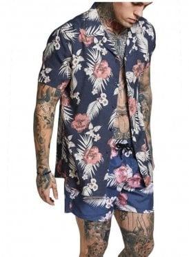 Sik Silk Hazey Daze Resort Shirt Navy