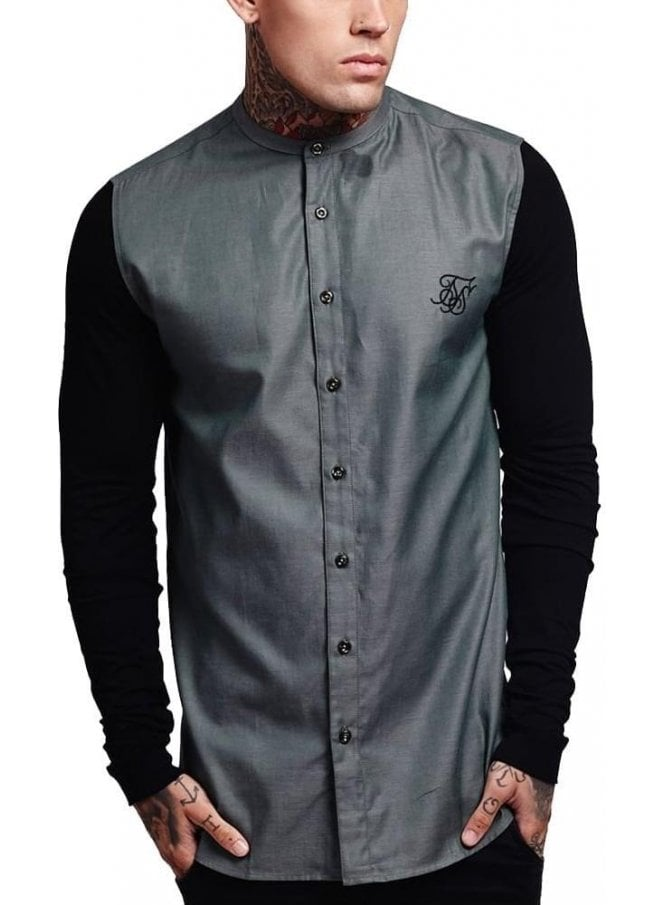 SIK SILK Jersey Long Sleeved Grandad Shirt With Co Khaki