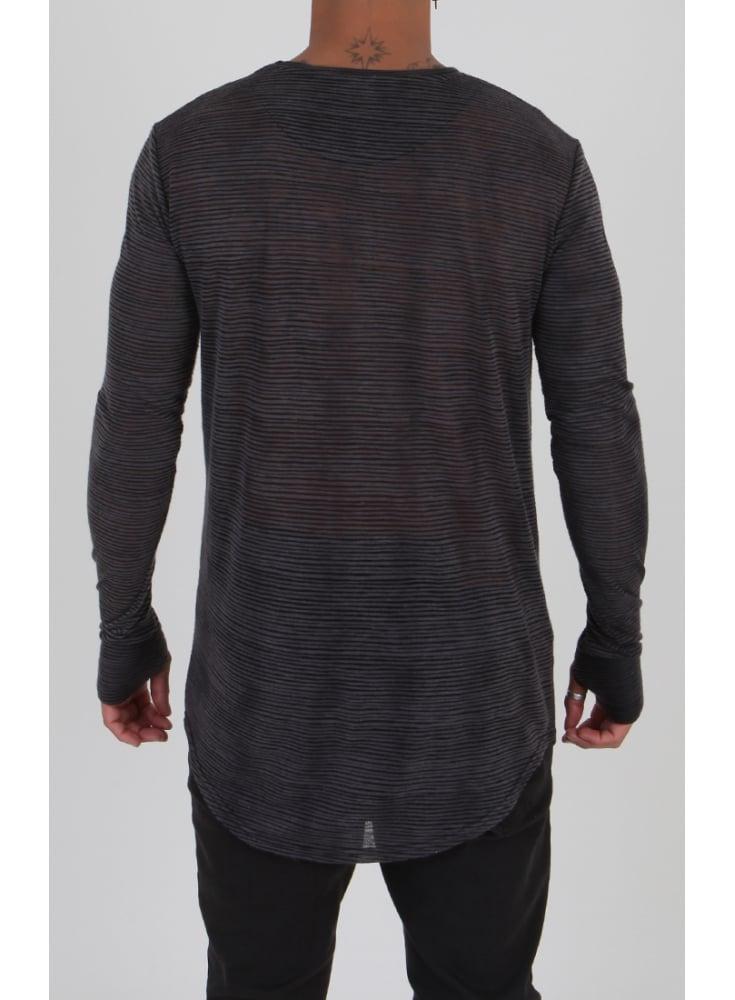 be3c588e01 Sik Silk Long Sleeve Burnt Out Stripe Tshirt Black