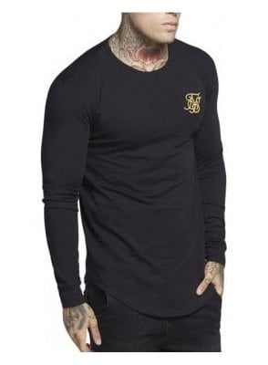 Long Sleeve Gym Tee Black Gold Black/gold