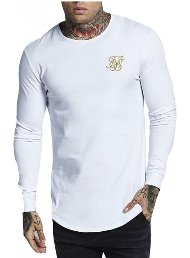 SIK SILK Long Sleeve Gym Tee White Gold White/gold