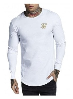 Long Sleeve Gym Tee White Gold White/gold