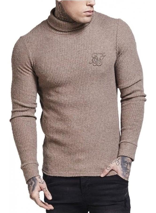 SIK SILK Long Sleeved Brushed Turtle Neck Knit Top Beige