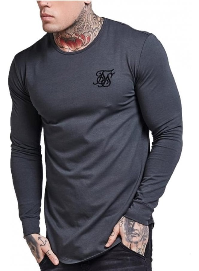 SIK SILK Long Sleeved Curved Hem Gym Tshirt Gunmetal Grey