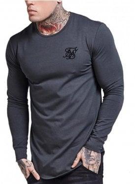 Long Sleeved Curved Hem Gym Tshirt Gunmetal Grey