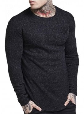 Long Sleeved Curved Hem Knitted Tee Black