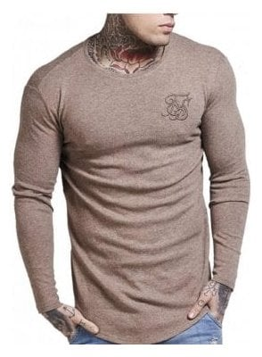 Long Sleeved Curved Hem Knitted Top Beige