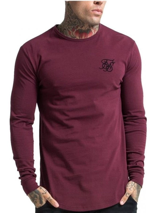 SIK SILK Long Sleeved Gym Tshirt Burgundy