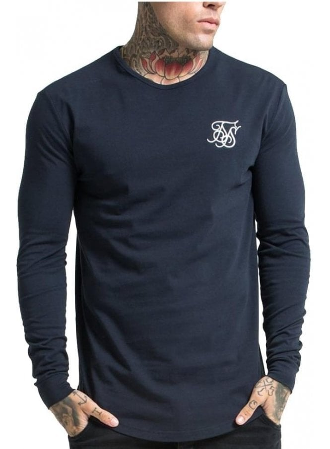SIK SILK Long Sleeved Gym Tshirt Navy