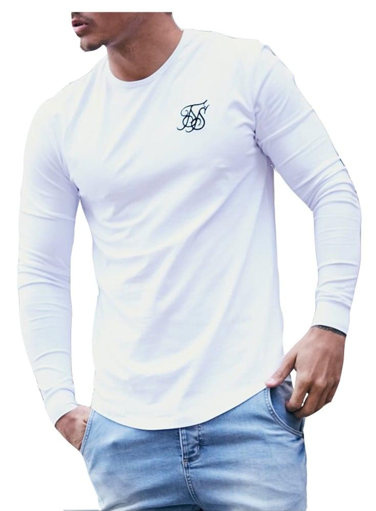 Sik silk long sleeved gym tshirt white for Silk white t shirt