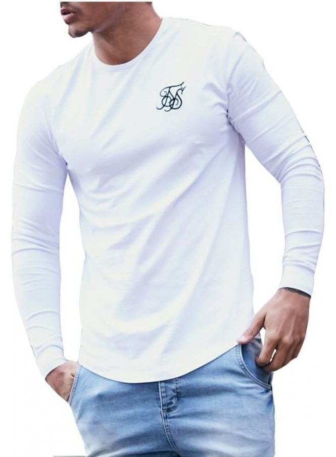SIK SILK Long Sleeved Gym Tshirt White