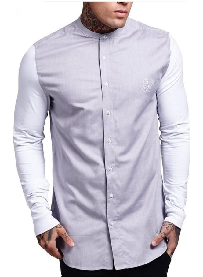 SIK SILK Long Sleeved Shirt With Contrast Sleeve Light Grey