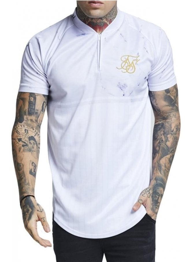 SIK SILK Marble Baseball Tshirt Off White