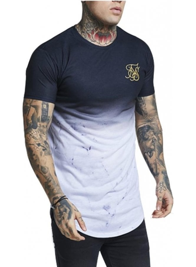 SIK SILK Marble Fade Curved Hem Tshirt Black