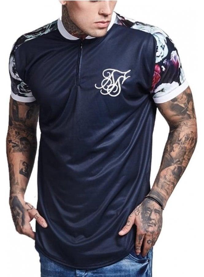 SIK SILK Nautic Floral Baseball Jersey Tshirt Navy