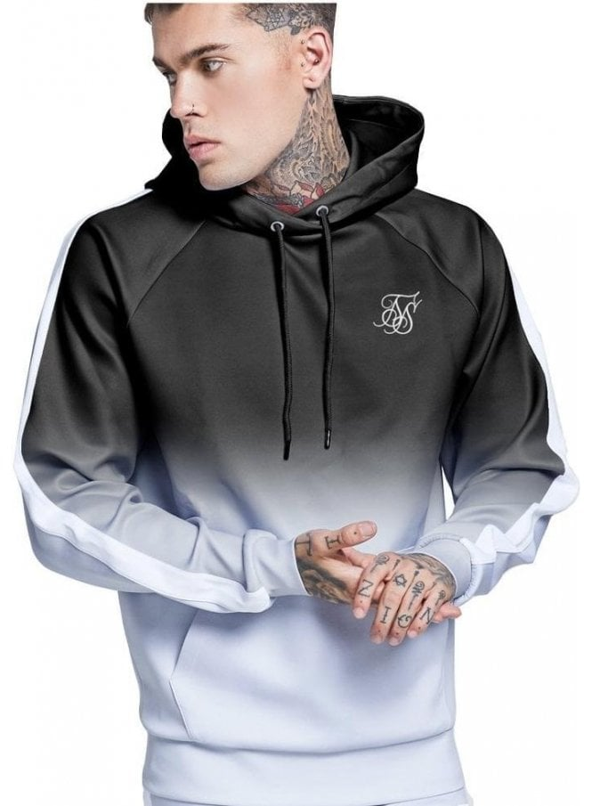 SIK SILK Overhead Vapour Fade Track Top Black/grey