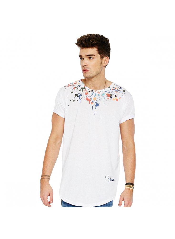 Sik silk paint fight curved hem t shirt white for Silk white t shirt