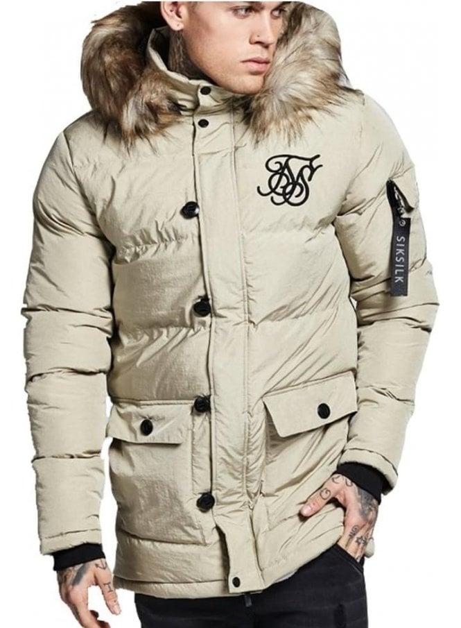 SIK SILK Puff Fur Collar Hooded Parka Beige