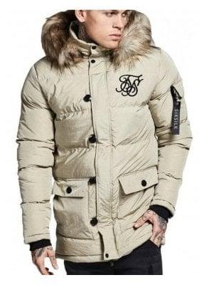 Puff Fur Collar Hooded Parka Beige