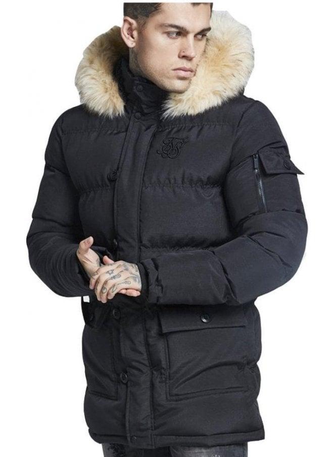 SIK SILK Puffa Parka Jacket Black
