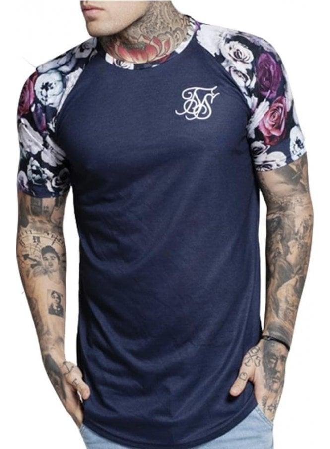 SIK SILK Raglan Curved Hem Tshirt Navy Nautical Floral