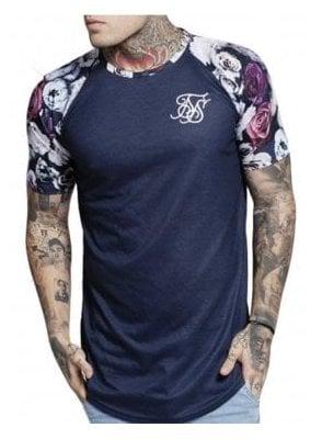 Raglan Curved Hem Tshirt Navy Nautical Floral