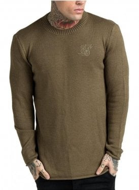 Raw Edge Ribbed Neck Jumper Khaki