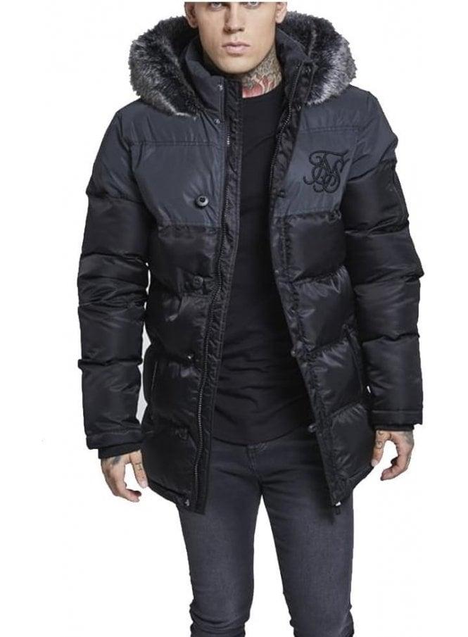 SIK SILK Reflective Upper Puffa Fur Collar Hooded Black