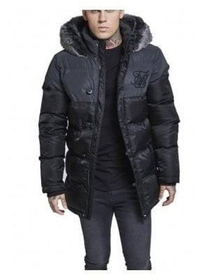 Reflective Upper Puffa Fur Collar Hooded Black