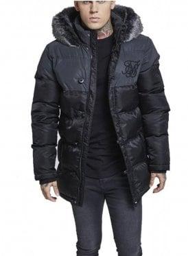 Reflective Upper Puffa Fur Collar Hooded Black