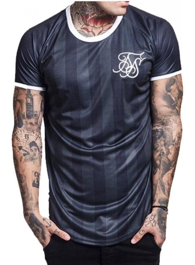 SIK SILK Retro Stripe Curved Hem Tshirt Black