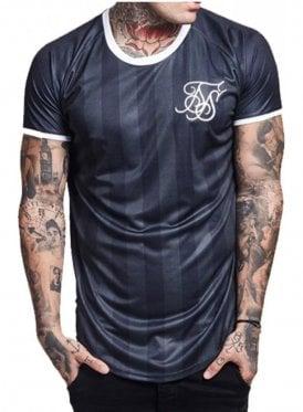 Retro Stripe Curved Hem Tshirt Black