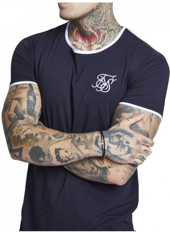 SIK SILK Ringer Gym Tee Navy