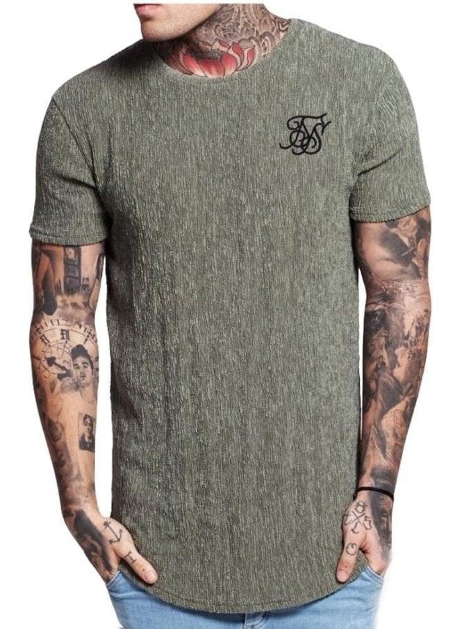 SIK SILK Ripple Curved Hem Tshirt Khaki